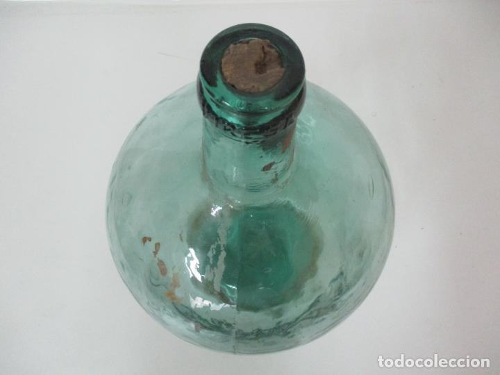 Antigüedades: Bote, Garrafa - Tarro, Damajuana, Botella de Cristal Soplado - Color Verde - Viresa - 38 cm Altura - Foto 2 - 152077118
