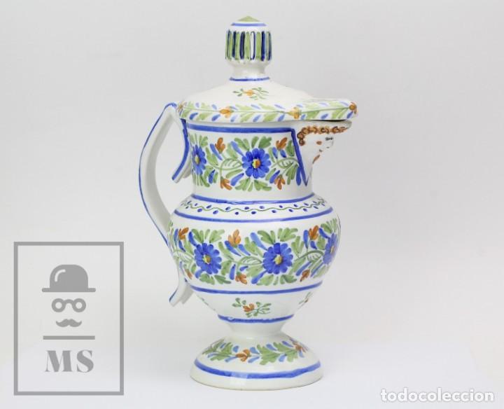 ANTIGUA JARRA DE CERÁMICA DE MANISES, FIRMADA GM / JOSÉ GIMENO MARTÍNEZ - Nº 28 - AÑOS 20 - #E01 (Antigüedades - Porcelanas y Cerámicas - Manises)