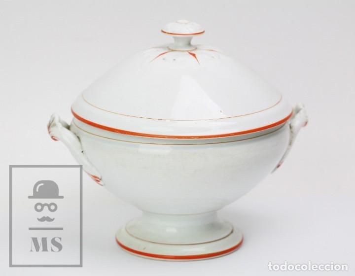 Antigüedades: Antigua Sopera de Cerámica Vidriada Opaque Lunéville - Finales Siglo XIX - Blanco y Naranja - #E01 - Foto 2 - 152135646