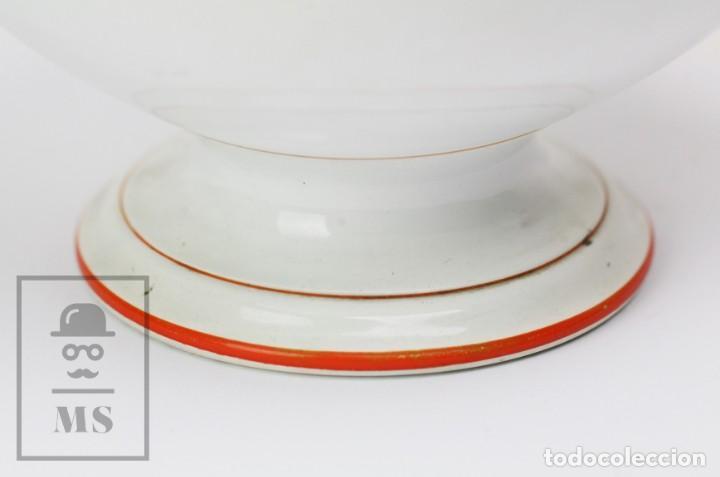 Antigüedades: Antigua Sopera de Cerámica Vidriada Opaque Lunéville - Finales Siglo XIX - Blanco y Naranja - #E01 - Foto 5 - 152135646