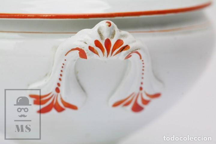Antigüedades: Antigua Sopera de Cerámica Vidriada Opaque Lunéville - Finales Siglo XIX - Blanco y Naranja - #E01 - Foto 6 - 152135646