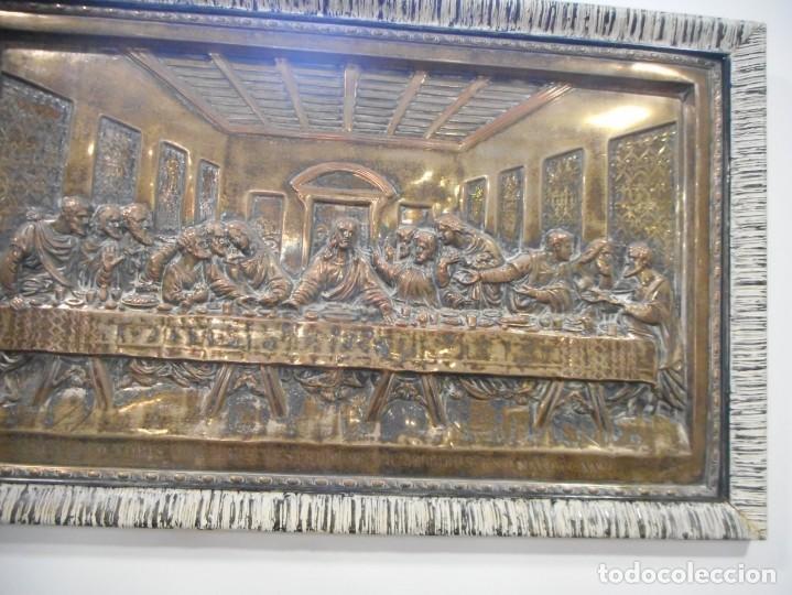 Antigüedades: Cuadro de Santa Cena de relieve en placa metálica - Foto 3 - 152137590