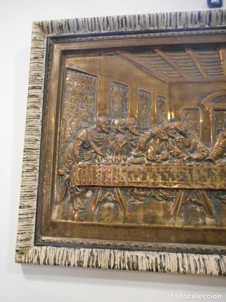 Antigüedades: Cuadro de Santa Cena de relieve en placa metálica - Foto 7 - 152137590