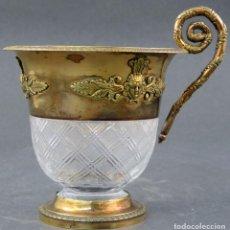 Antigüedades: TAZA EN CRISTAL TALLADO BACCARAT Y PLATA DORADA ESTILO IMPERIO FRANCIA SIGLO XIX. Lote 152157142