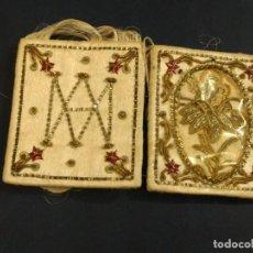Antigüedades: PRECIOSO ESCAPULARIO BORDADO DE SAN ANTONIO. MEDIDAS 5 X 4 CM. Lote 152157978