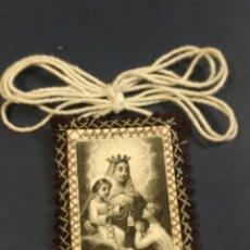 Antigüedades: BONITO ESCAPULARIO DE LA VIRGEN DEL CARMEN. 5,50 X 4 CM. Lote 152158098