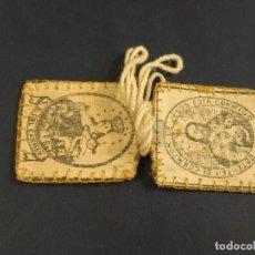 Antigüedades: BONITO ESCAPULARIO VIRGEN DEL CARMEN Y SAGRADO CORAZÓN DE JESÚS. 4 X 3,50 CM. Lote 152163098