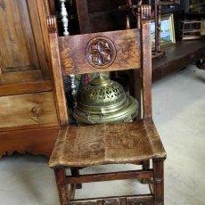 Antigüedades: SILLA RUSTICA ANTIGUA TALLADA EN MADERA DE OLMO . Lote 152177206