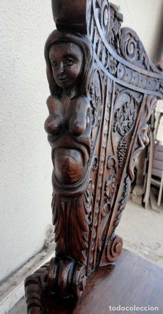 Antigüedades: Pareja de sillas antiguas talladas con cariatides - Foto 5 - 152178598