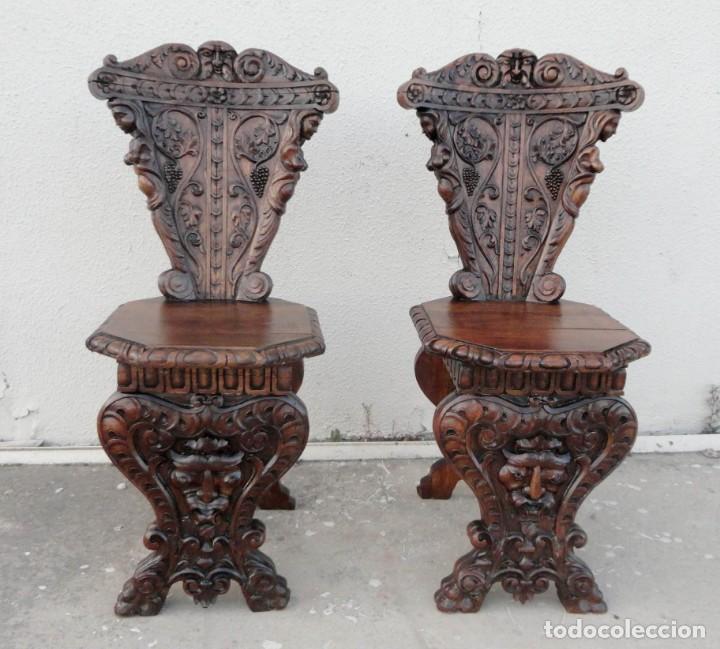 Antigüedades: Pareja de sillas antiguas talladas con cariatides - Foto 6 - 152178598