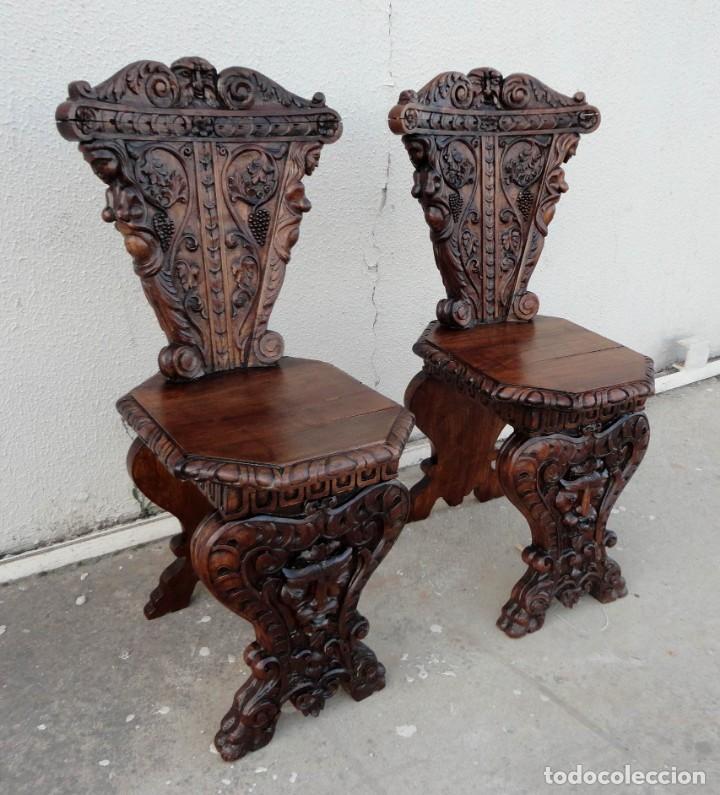 Antigüedades: Pareja de sillas antiguas talladas con cariatides - Foto 7 - 152178598