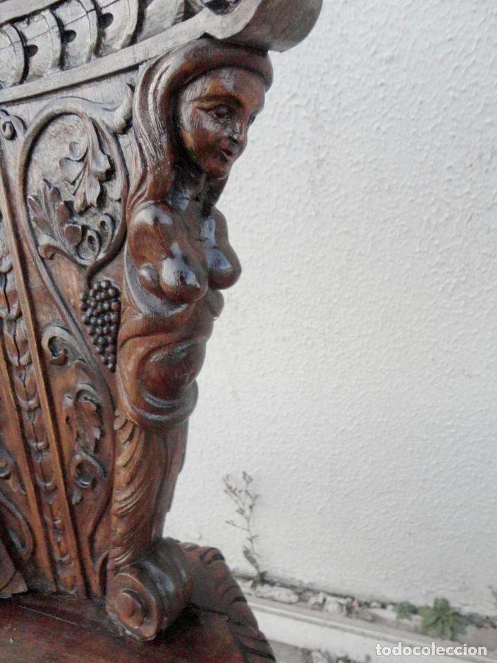Antigüedades: Pareja de sillas antiguas talladas con cariatides - Foto 8 - 152178598