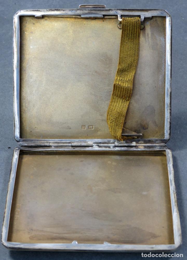 Antigüedades: Pitillera en plata grabada inglesa hacia 1900 - Foto 2 - 152185062