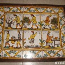 Antigüedades: BONITA COMPOSICION DE AZULEJOS , REPRESENTACIÓN DE VENDIMIA , ARTES Y OFICIOS. Lote 152185734