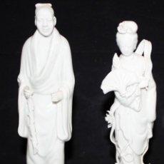 Antigüedades: PAREJA DE FIGURAS ORIENTALES DE PORCELANA BLANCA-JAPÓN ?. Lote 152189342