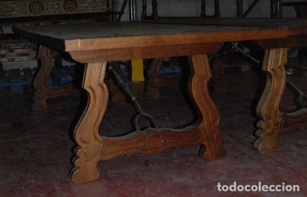 MESA CON PATAS DE LIRA (Antigüedades - Muebles Antiguos - Mesas Antiguas)