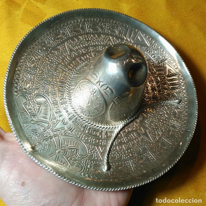 Antigüedades: Sombrero Mejicano de Plata de Ley. Peso 90 gr. 925 ml. Diámetro 15 cm. - Foto 3 - 152208502