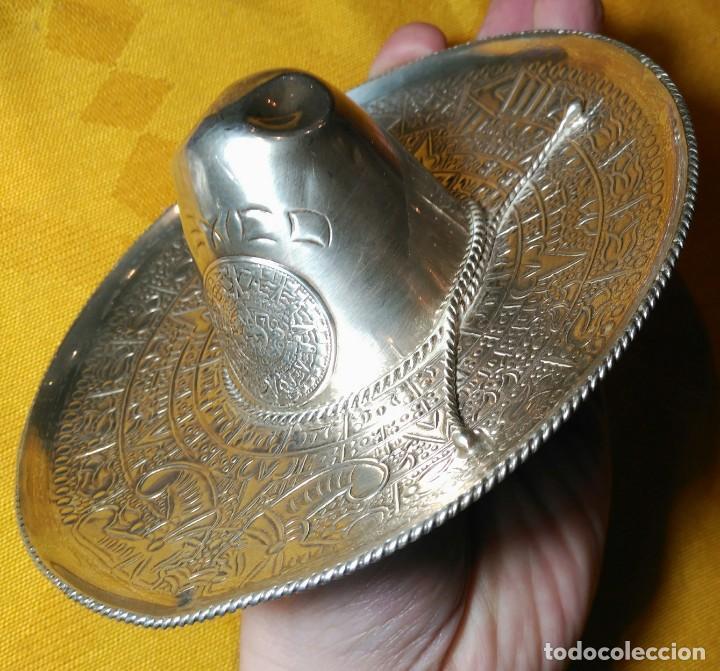 Antigüedades: Sombrero Mejicano de Plata de Ley. Peso 90 gr. 925 ml. Diámetro 15 cm. - Foto 5 - 152208502