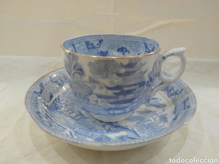 TAZA Y PLATO PATRON WILLOW INGLATERRA (Antigüedades - Porcelanas y Cerámicas - Inglesa, Bristol y Otros)