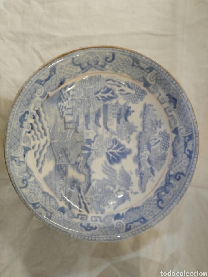 Antigüedades: TAZA Y PLATO PATRON WILLOW INGLATERRA - Foto 4 - 152215665