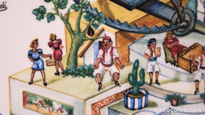 Antigüedades: IMPORTANTE PLATO DEDICADO AL GOBERNADOR CIVIL DE VALENCIA. FALLAS 1942. PINTADO POR CHITO. MANISES - Foto 11 - 152216006