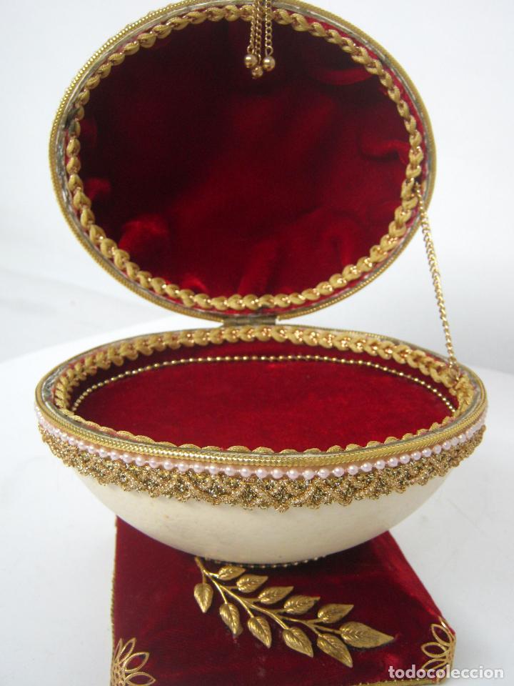 Antigüedades: Caja joyero estuche tipo Faberge - Gran huevo de avestruz autentico con aplicaciones - Foto 7 - 152218766