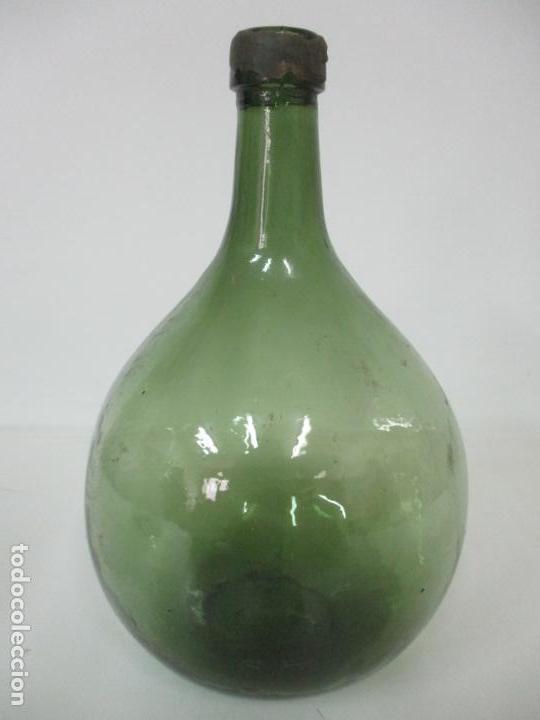 BOTE, GARRAFA - TARRO, DAMAJUANA, BOTELLA DE CRISTAL SOPLADO - COLOR VERDE - 32 CM ALTURA (Antigüedades - Cristal y Vidrio - Catalán)