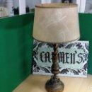 Antigüedades: LAMPARA GRANDE DE SOBREMESA EN MADERA ANTIGUA, RESTAURADA EN SU MOMENTO. Lote 152297254