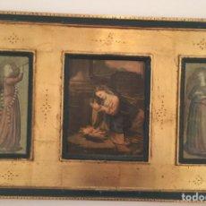 Antigüedades: TRÍPTICO RELIGIOSO LAMINAS BARNIZADAS MARCO EN PAN DE ORO 70X41CM. Lote 152350869