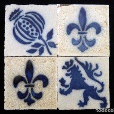 Antigüedades: LOTE DE 4 OLAMBRILLAS 6,8X6,8 CM. GRES, AÑOS 20. ARRANCADAS. TACO RACHOLA AZULEJO. Lote 152386322