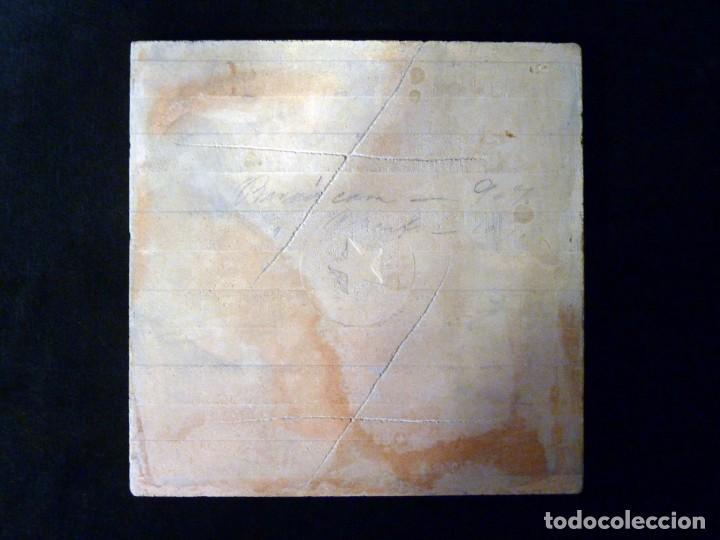 Antigüedades: AZULEJO AJEDREZADO. AZUL COBALTO Y BLANCO. POSIBLEMENTE ONDA (CASTELLÓN) 20 x 20 cm. SELLO ESTRELLA. - Foto 5 - 152386874