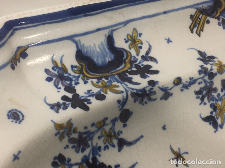Antigüedades: Bacía de Barbero cerámica de Alcora siglo XVIII Pieza de Museo - Foto 11 - 152404190