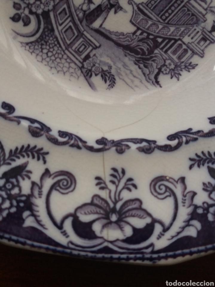 Antigüedades: Plato sopero Sargadelos del S.XIX azul-violeta - Foto 3 - 152419869