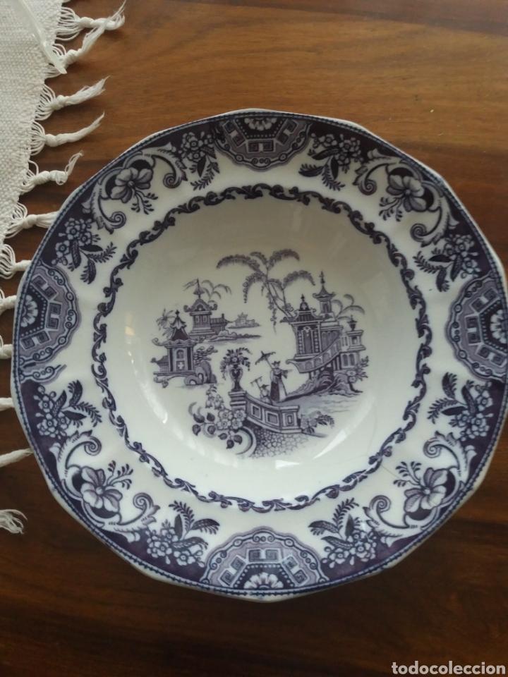 Antigüedades: Plato sopero Sargadelos del S.XIX azul-violeta - Foto 6 - 152419869