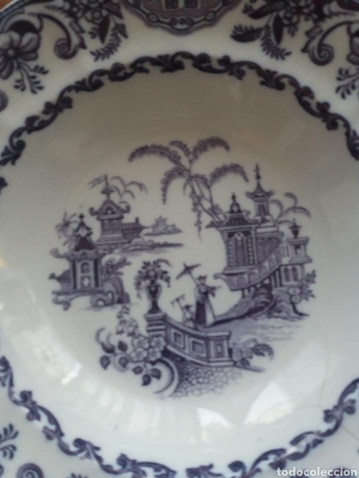 Antigüedades: Plato sopero Sargadelos del S.XIX azul-violeta - Foto 7 - 152419869