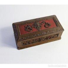 Antigüedades: ANTIGUA ARCA, JOYERO DE MADERA TALLADA. Lote 152448478