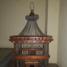 Antigüedades: JAULA ALAMBRE Y MADERA. Lote 152454194