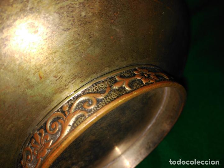 Antigüedades: ANTIGUO CUENCO INCENSARIO PEBETERO CENTRO S. XVII-XVIII BRONCE BASE PLATA 3 CARAS DAMA BRONCE 35,0 - Foto 9 - 152455330