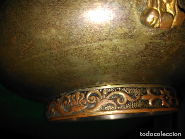 Antigüedades: ANTIGUO CUENCO INCENSARIO PEBETERO CENTRO S. XVII-XVIII BRONCE BASE PLATA 3 CARAS DAMA BRONCE 35,0 - Foto 17 - 152455330