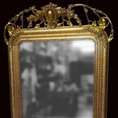 Antigüedades - Espejo isabelino dorado de madera. Siglo XIX. 126x87 cm. - 150129330