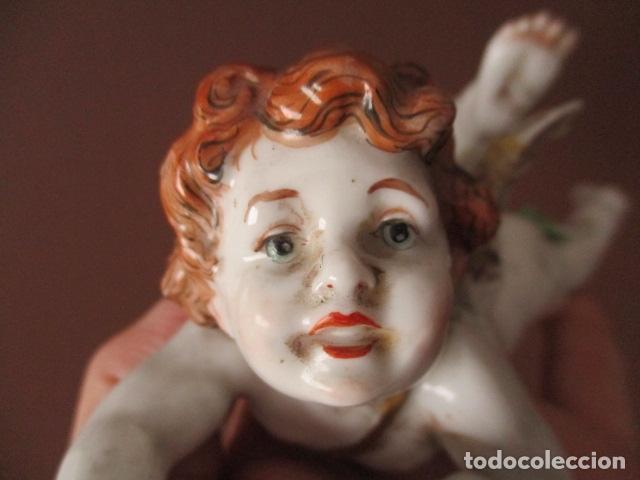 Antigüedades: OJO.. Figura Porcelana- ¿ Algora ?- Angel - Angelito - EN LA BASE - SELLOS REALES DE CORONA - Foto 3 - 152490838