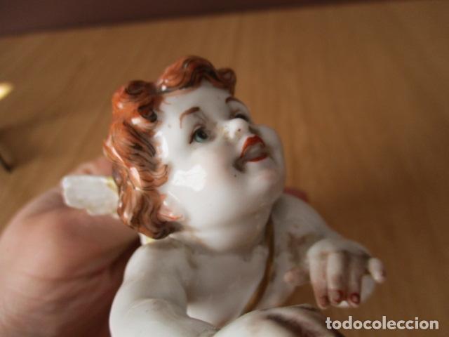 Antigüedades: OJO.. Figura Porcelana- ¿ Algora ?- Angel - Angelito - EN LA BASE - SELLOS REALES DE CORONA - Foto 11 - 152490838