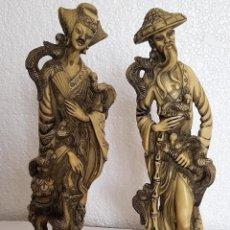 Antigüedades: PAREJA DE FIGURAS EN ALABASTRO 38 CM. Lote 152507114