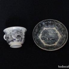 Antigüedades: TAZA Y PLATO DE CAFÉ. CERAMICA DE CARTAGENA. Lote 232449085