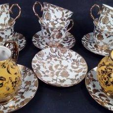 Antigüedades: CONJUNTO DE CAFÉ EN PORCELANA Y ORO FINO. ALEMANIA.MITAD DEL S. XX.. Lote 152541782