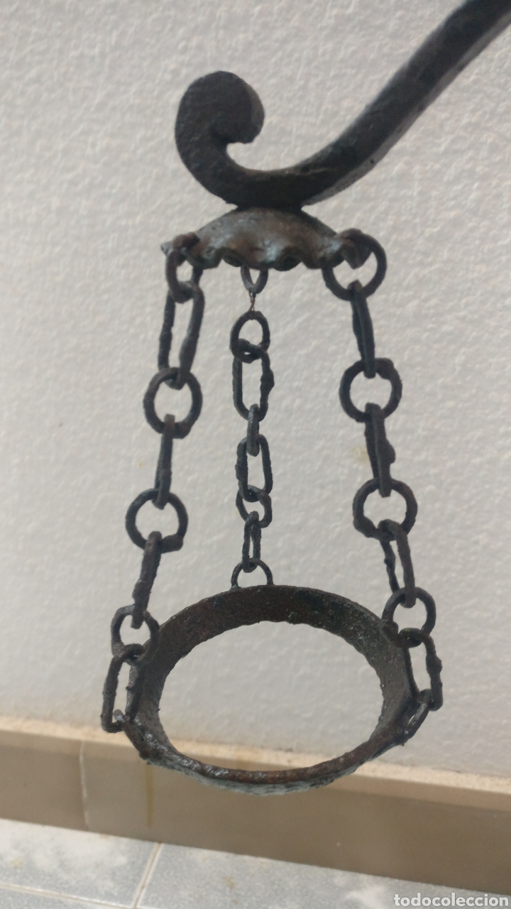 Antigüedades: Bonito y antiguo candelabro incensario estilo balanza de forja. - Foto 10 - 152552310