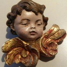 Antigüedades: BUSTO QUERUBIN MUY ANTIGUO PAN DE ORO. Lote 152569670