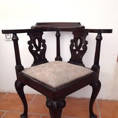 Antigüedades: SILLA CHIPPENDALE DE ESQUINA, DE MADERA DE CAOBA. PRINCIPIOS SXX.. Lote 152570658