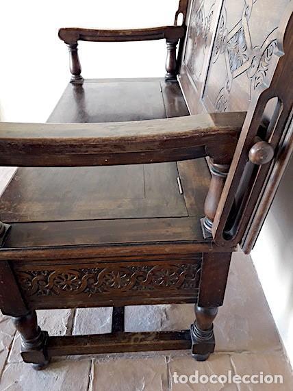 Antigüedades: Mueble escaño-baúl-mesa de nogal. Tamaño: 115x95x48cm. Principios del sXX. - Foto 7 - 152572058