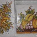 Antigüedades: 2 AZULEJOS DE TALAVERA CON FLORES Y FRUTAS. Lote 152589026